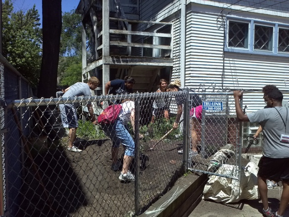 Using team work to build a rain garden