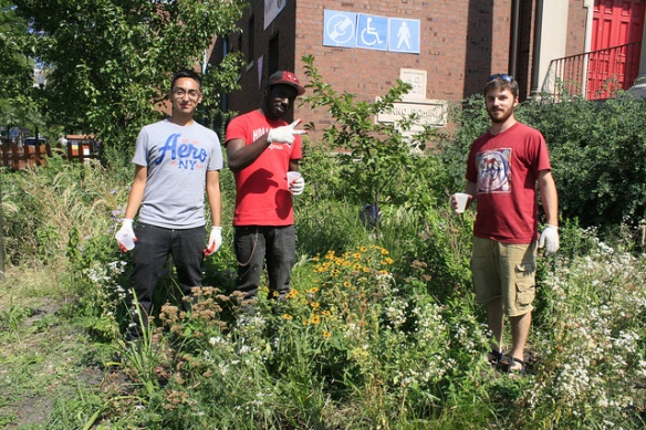 LETS GO Chicago team members weeding a rain garden in summer 2012