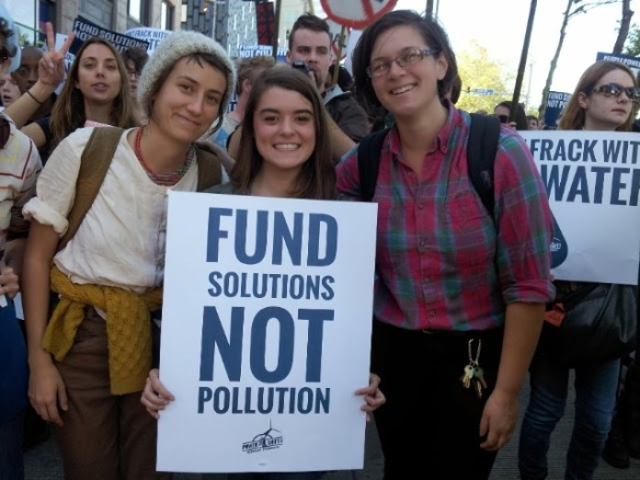 (From left to right) Molly Costello, Kara Hoy, and Nell Seggerson of LETS GO participate in the Power Shift march for a Green Economy